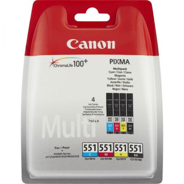 Pack de 4 Cartouches d'encre (1 Noire, 1Cyan, 1 Magenta, 1 Jaune) Original Canon 6509B009 (CLI-551)