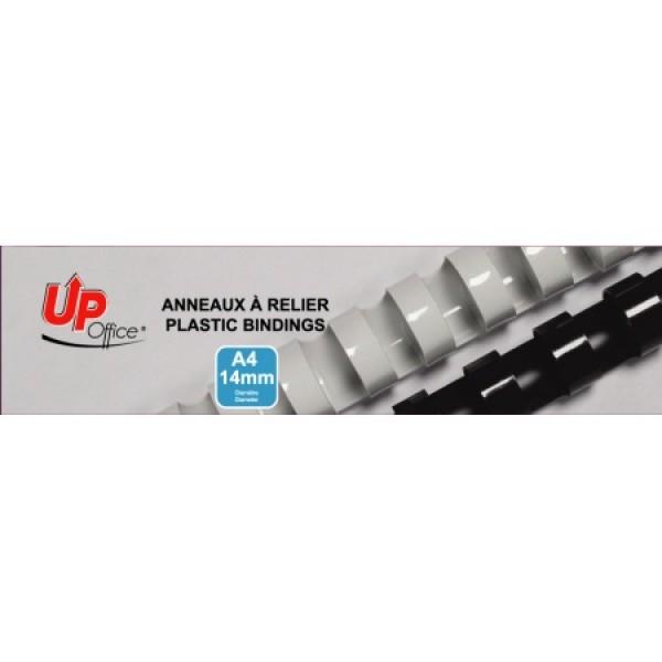 Anneaux plastiques 14mm - Blanc - Pack de 100