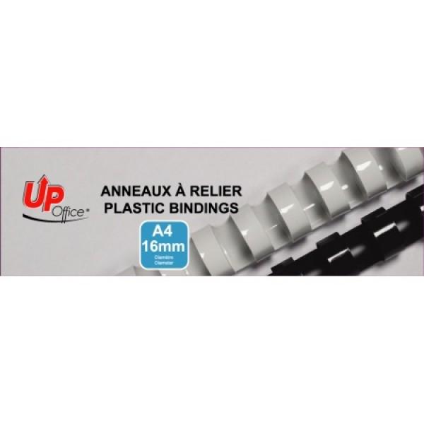 Anneaux plastiques 16mm - Blanc - Pack de 100