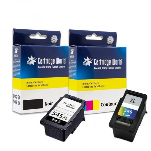 Pack de 2 cartouches d'encre BK + CL Cartridge World compatible Canon PG-545XL / CL-546XL