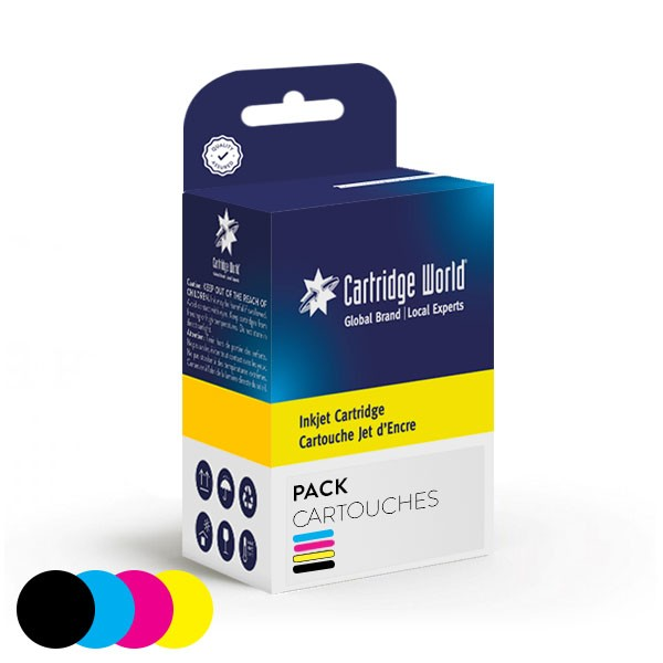 Pack de 4 cartouches d'encre BK+C+M+Y Cartridge World compatible Canon PGI-1500XL
