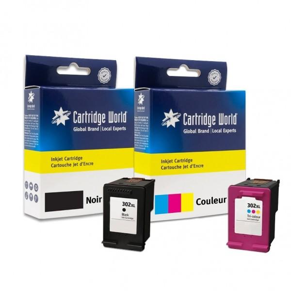 Pack de 2 cartouches d'encre BK + CL Cartridge World compatible HP 302XL (F6U68AE/F6U67AE/N)
