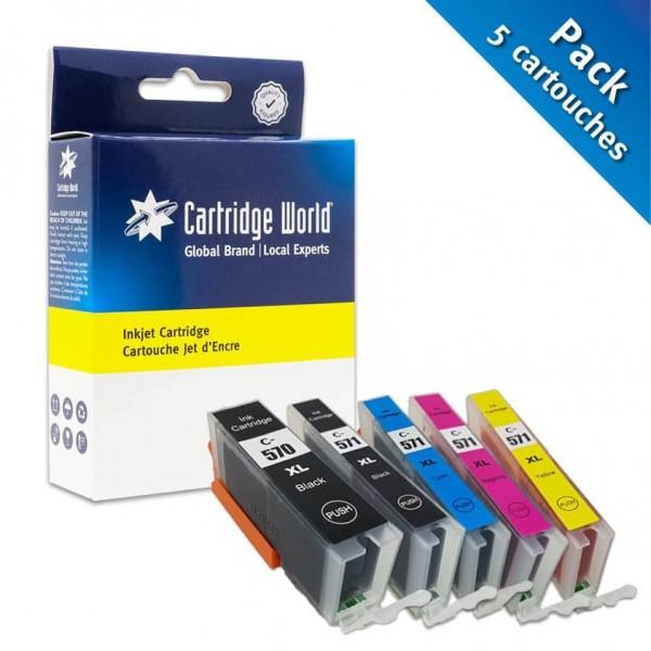 Pack de 5 cartouches d'encre 2BK+C+M+Y Cartridge World compatible Canon PGI-570XL/CLI-571XL