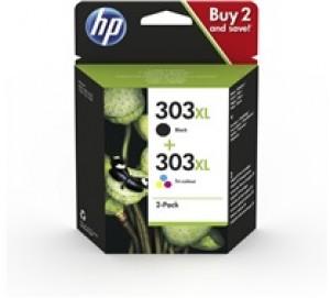Pack de 2 cartouches d'encre BK + CL Original HP 303XL (T6N04AE/T6N03AE)