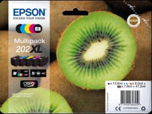 Pack de 5 cartouches d'encre BK+PBK+C +M+Y Original Epson 202XL (C13T02G74010)