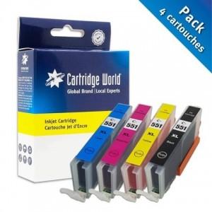 Pack de 4 cartouches d'encre BK+C+M+Y Cartridge World compatible Canon CLI-551XL
