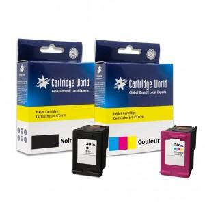Pack de 2 cartouches d'encre (1 BK + 1 CL) Cartridge World compatible HP 301XL (CH563EE/CH564EE)