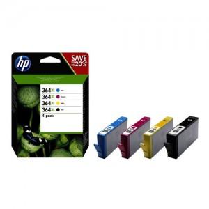 Pack de 4 cartouches d'encre à haute autonomie (1 Noire. 1 Cyan. 1 Magenta. 1 Jaune ) Original  HP N9J74AE (HP 364XL)