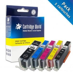 Pack de 5 cartouches d'encre 2BK+C+M+Y Cartridge World compatible Canon PGI-550/CLI-551XL