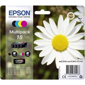 Pack de 4 cartouches d'encre (1 Noire. 1 Cyan. 1 Magenta. 1 Jaune ) Original Epson C13T18064012 (T1806)