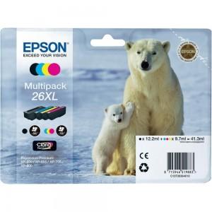 Pack de 4 cartouches d'encre (Noir,Cyan,Magenta,Jaune) Original Epson T26XL Ours polaire