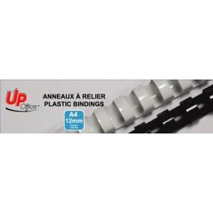 Anneaux plastiques 12mm - Noir - Pack de 100