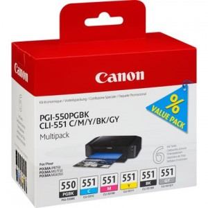 Pack de 6 cartouches d'encre BK+BK+C+M+Y+G Original Canon PGI-550 /CLI-551