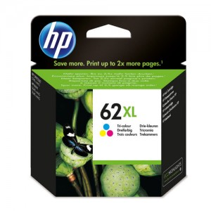 Cartouche d'encre grande capacité Couleurs Original HP C2P07AE (HP 62XL)