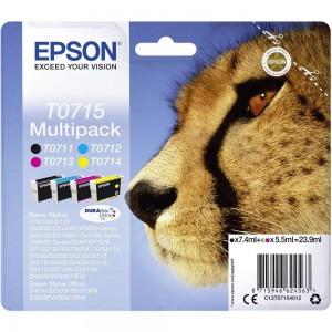 Pack de 4 cartouches d'encre (1 Noire. 1 Cyan. 1 Magenta. 1 Jaune ) Original Epson C13T07154012 (T0715)