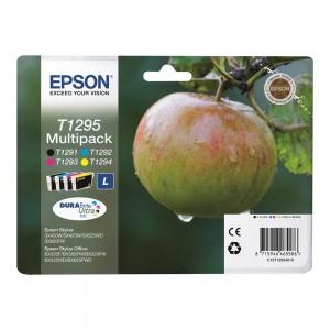 Pack de 4 (Noire,Cyan,Magenta,Jaune) Original Epson T1295 Pomme