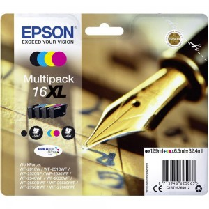 Pack de 4 cartouches d'encre (1 Noire. 1 Cyan. 1 Magenta. 1 Jaune ) Original Epson C13T16364012 (T1636)