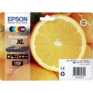 Pack de 5 cartouches d'encre (Noir, Noir Photo ,Cyan,Magenta,Jaune) Original Epson T33XL Oranges